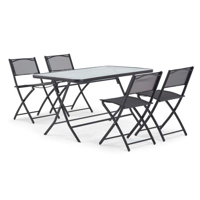 OVIALA - Table de jardin et 4 chaises pliantes en acier et verre ...