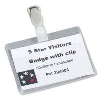 5 Etoiles - Etl- Boîte de 25 badges à pince Plastique Blanc