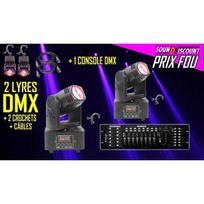 Ibiza Light - Pack De 2 Lyres Led Lmh Froggy Dmx + 1 Console Dmx + Crochets + CÂBLE . Prix Fou