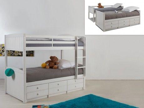 marque generique lits superpos s s parables anchise 90 190cm avec rangements laqu blanc. Black Bedroom Furniture Sets. Home Design Ideas
