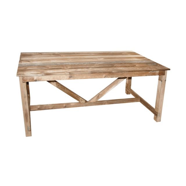Cemonjardin table de jardin en bois normand pas cher achat vente tables de jardin - Table de jardin en bois ...