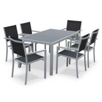ALICE'S GARDEN - Salon de jardin en aluminium et textilène - Capua - Blanc, gris - 1 grande table rectangulaire, 6 fauteuils empilables