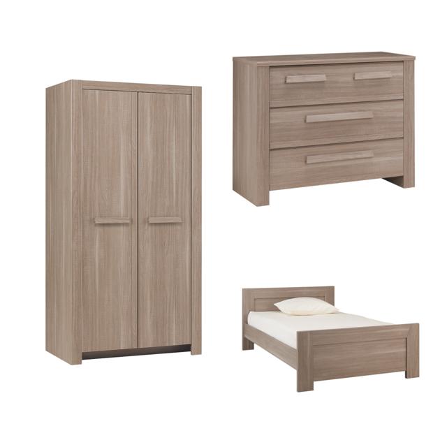 Gami Chambre complète lit junior 120x200 - commode 3 tiroirs - armoire 2 portes Hangun - Bois