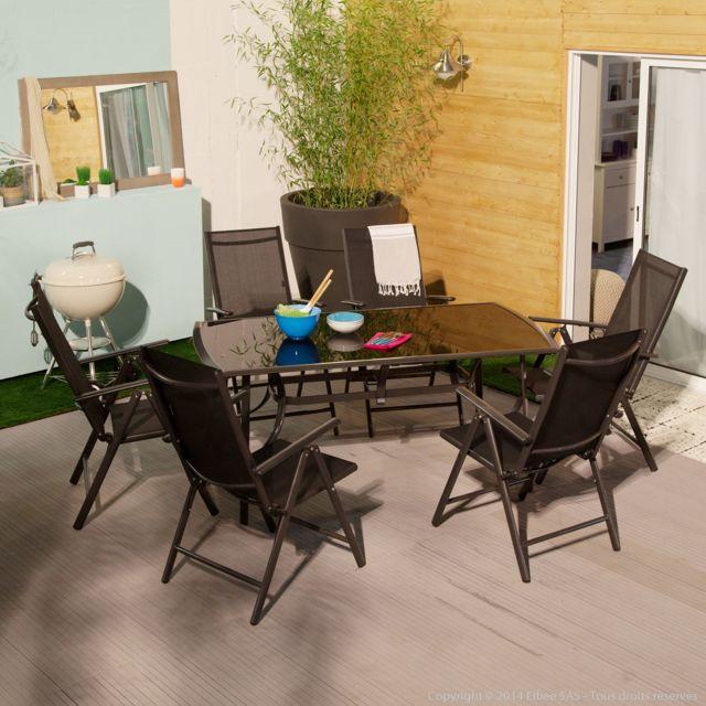 Squareline - Salon de jardin 6 places aluminium : 1 table + 6 ...
