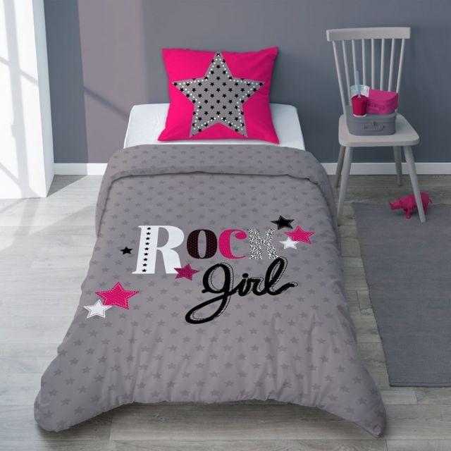 selene et gaia parure de lit girly rock toile gris anthracite fuchsia ado coton girly rock. Black Bedroom Furniture Sets. Home Design Ideas