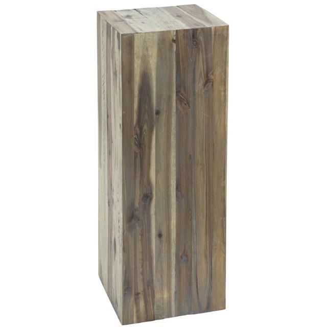 COMFORIUM Table d'appoint 75 cm en bois massif coloris naturel vintage
