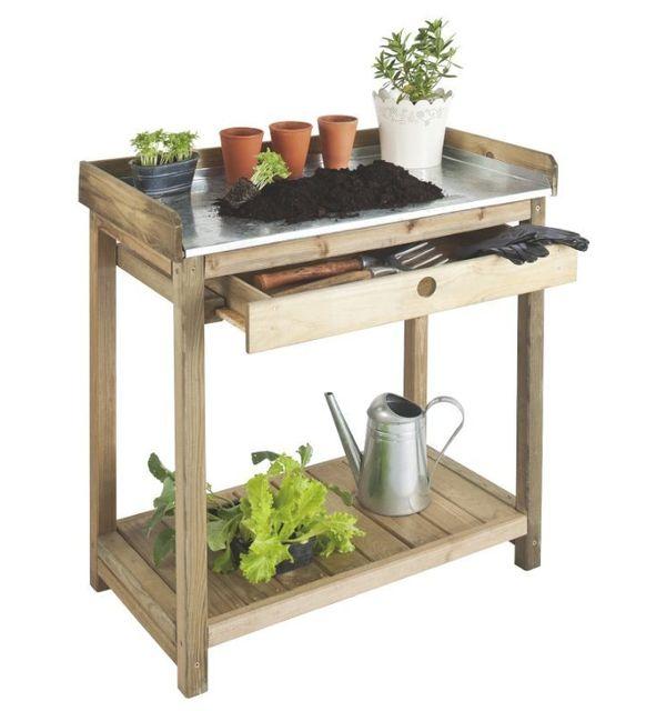 Jardipolys - Table de préparation + 1 tiroir bois autoclave - pas ...