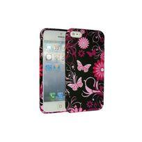 Nzup - Coque Tpu semi rigide noire Flower rose pour iPhone 5 / 5 S