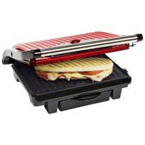 Bestron - Grill à Panini multifonctions - Récupérateur de graisse intégré - Design rouge