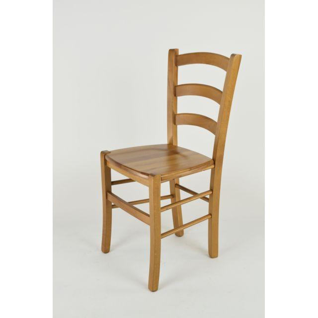 Set 1 Chaise Venice pour la Cuisine, bar et la Salle à Manger, Structure en Bois Couleur chêne et Assise en Bois