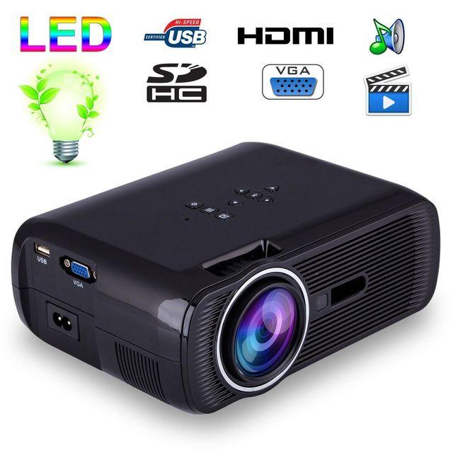 Yonis Mini vidéoprojecteur portable Led 1000 Lumens Hd Carte Sd Usb Noir