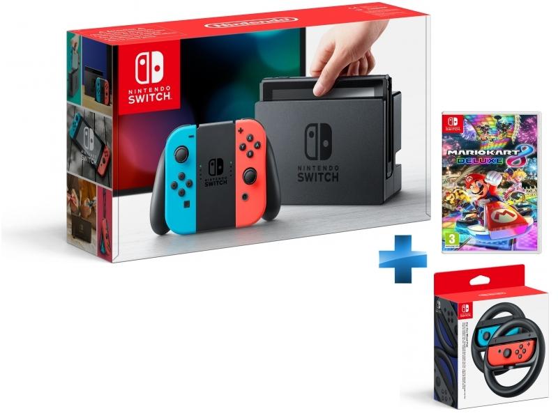 Console Switch avec un Joy-Con rouge néon et un Joy-Con bleu néon + Mario Kart 8 Deluxe + Paire de volants Joy-Con Switch