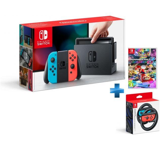 NINTENDO - Console Switch avec un Joy-Con rouge néon et un Joy-Con bleu néon + Mario Kart 8 Deluxe + Paire de volants Joy-Con Switch