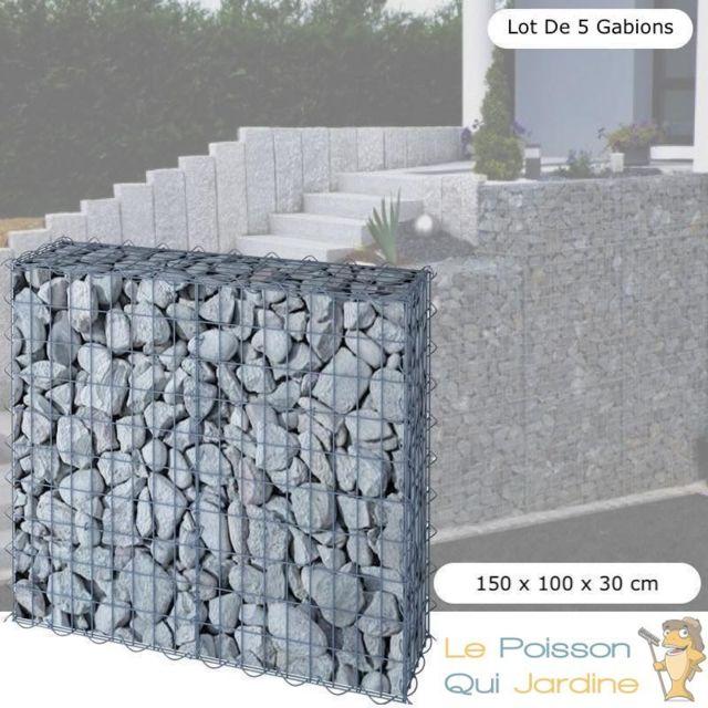 Le Poisson Qui Jardine Lot de 5 Gabions En Métal Galvanisé - Robuste - Résistant - 150 x 100 x 30 cm
