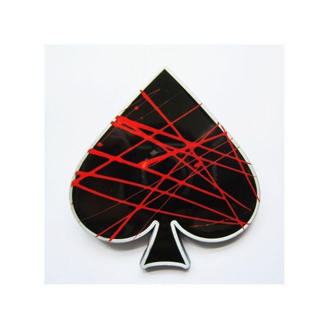 53299278294 Universel - Boucle de ceinture as de pique noir trait rouge homme femme
