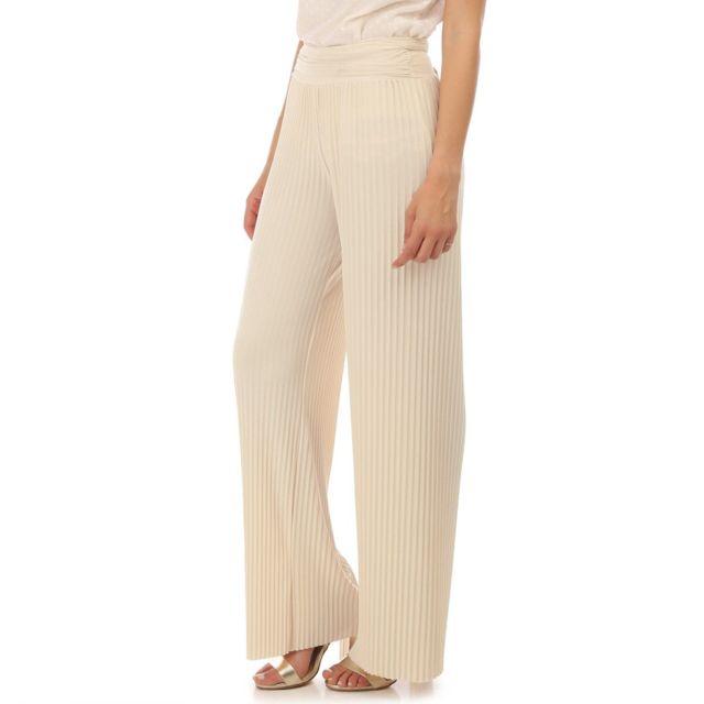 LAMODEUSE Pantalon beige plissé avec ceinture à nouer