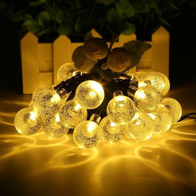 Guirlande Bande Lumineuse Avec Capteur Solaire Leds Lumiere Eclairage D Ambiance Decoration Pour Noel Mairage Maison Jardin Exterieur 30 Ampoules 6m