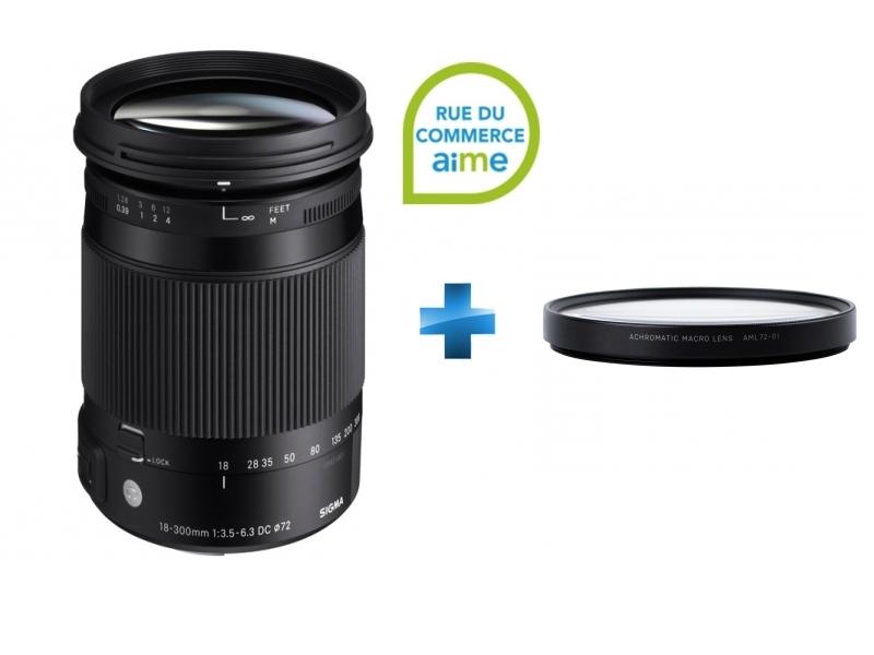 Contemporary   18-300mm F3.5-6.3 DC MACRO OS HSM - Monture Nikon + Filtre bonnette macro