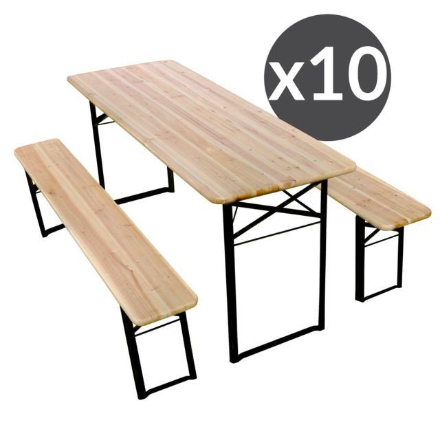 Mobeventpro Set Brasserie table et banc 220 cm - Lot de 10