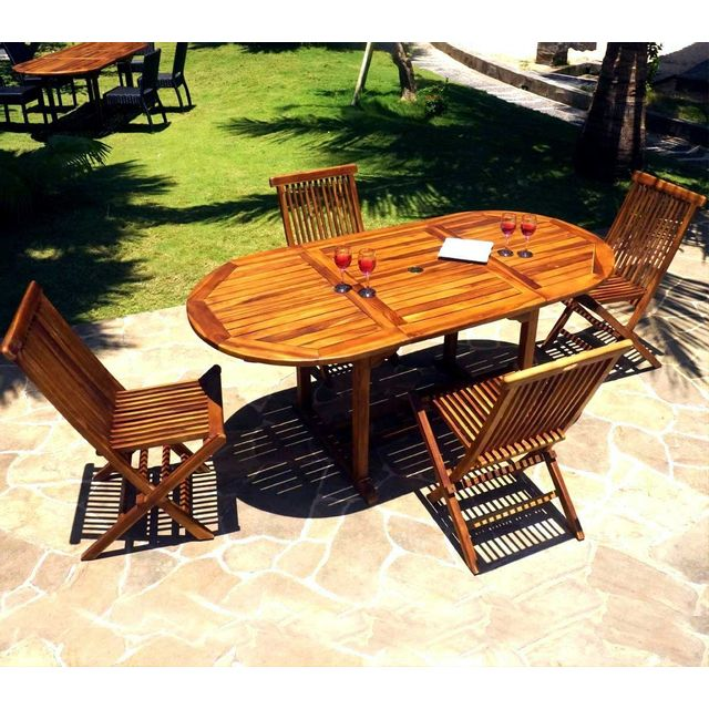 Wood En Stock - Salon de jardin 4-8 places en teck huilé - 4x ...