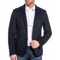 Cent's - Veste de costume en laine bleu foncé
