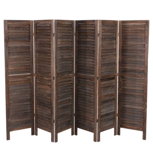 Mendler - Paravent / séparation bois, 6 pans, 276x2x170cm, shabby, vintage, marron