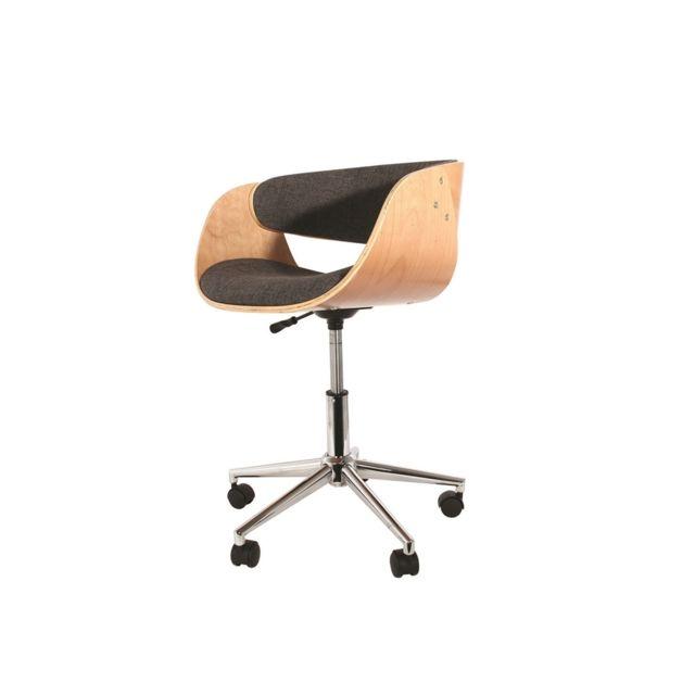 Générique Chaise De Bureau Fauteuil Bois Tissu Design Pas