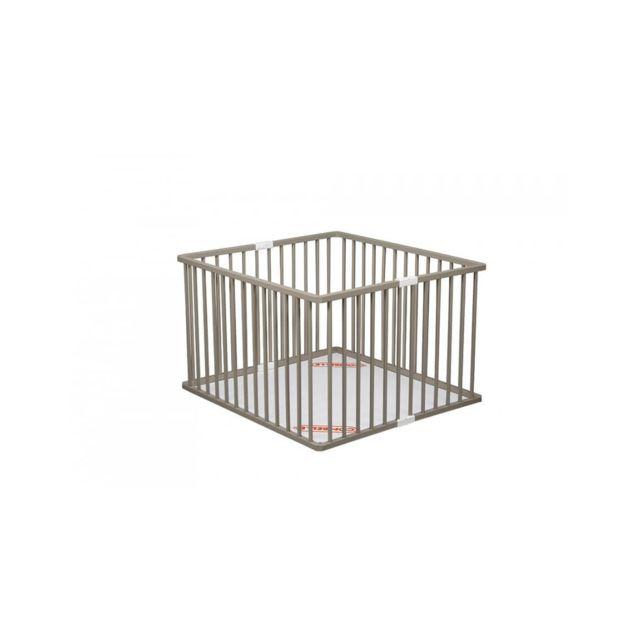Combelle - Parc carré pliant avec fond laqué gris clair