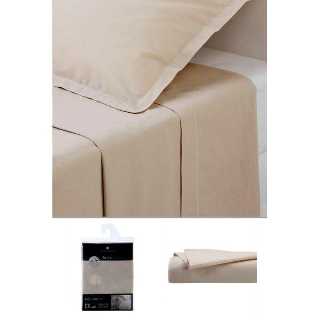 Drap plat 1 personne 180x290 cm 100/% Coton Blanc