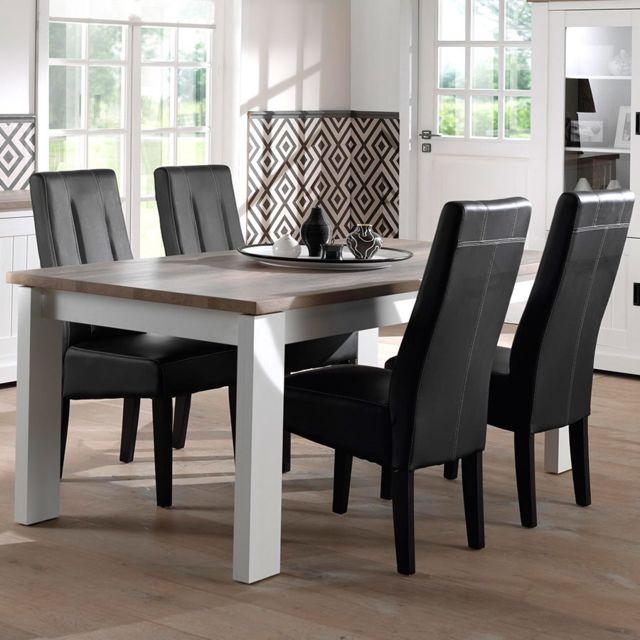 Nouvomeuble Table 160 cm blanche et couleur bois clair contemporaine Ethan