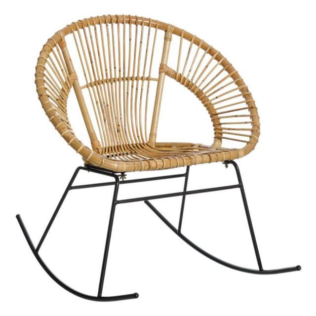Tousmesmeubles Rocking Chair en rotin Naturel - Qatorda