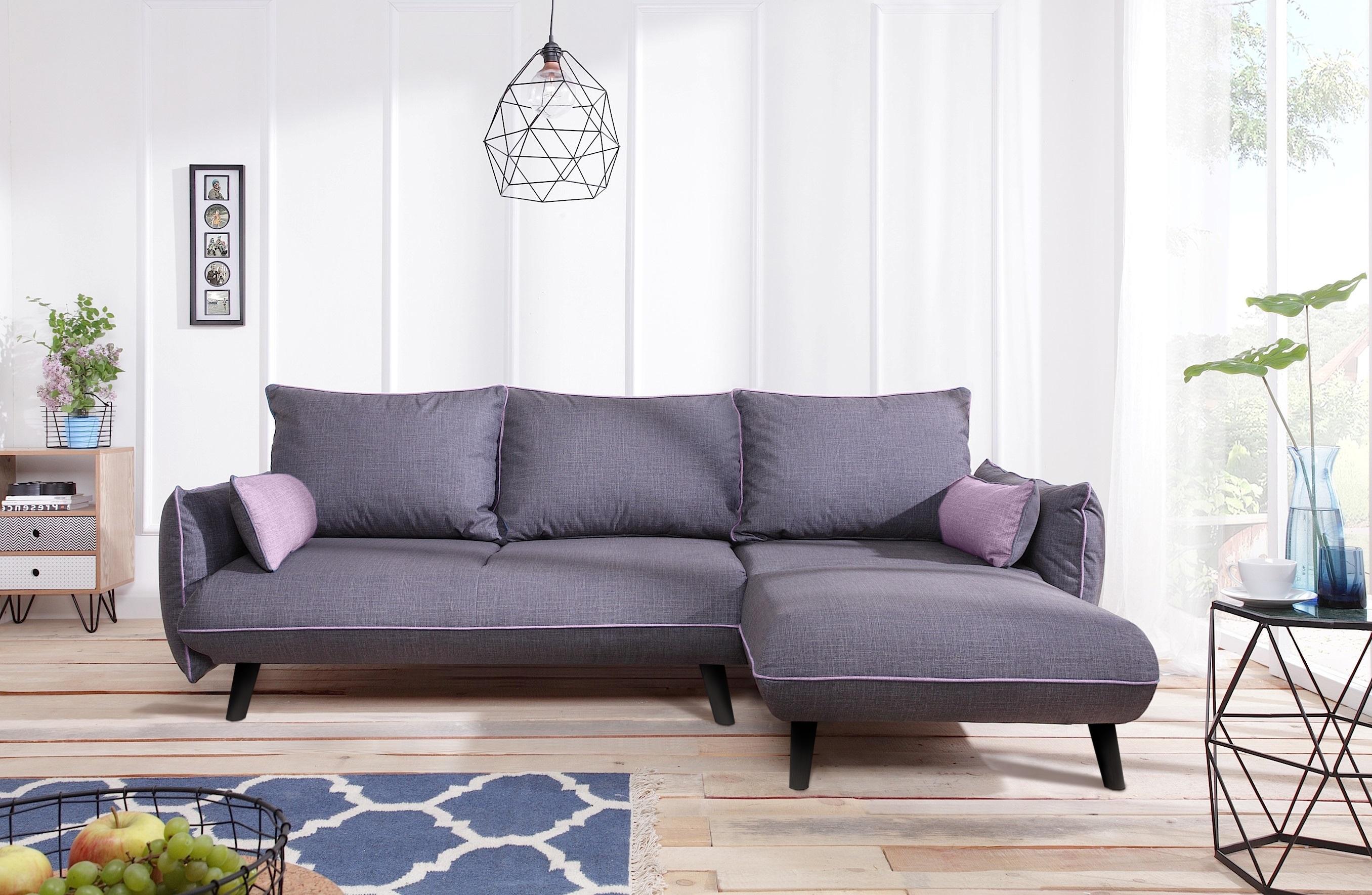 bobochic canap milano 4 places angle droit convertible gris fonc avec passpoil rose. Black Bedroom Furniture Sets. Home Design Ideas