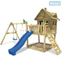 Wickey - Portique bois avec toboggan Funny Farm