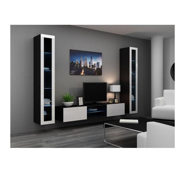 CHLOE DESIGN Meuble tv design SERRA - noir et blanc