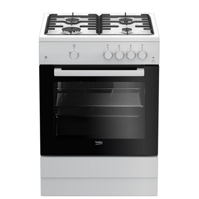 Beko cuisinière mixte à 66l 4 feux blanc - fsg62010fw