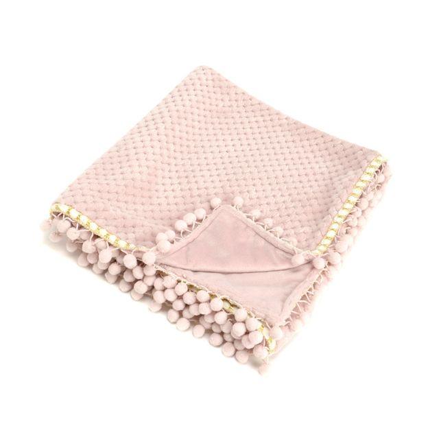 Amadeus Plaid enfant pompon 100% polyester toucher doux motif nid d'abeille rose 75x100cm Douceur