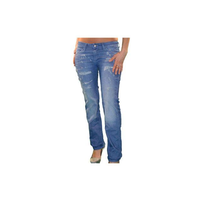 Wrangler - Jean - Femme - Mae Indian Summer - Bleu Délavé W27 L30 ... 4234498dab44