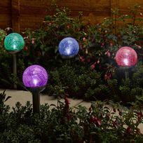 Smart Garden - Lot de 4 balises solaires Led lumière blanche et multicolore à planter