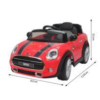 BMW MOTOR SPORT - Mini Cooper voiture électrique enfants à partir de 37 mois 2 moteurs 6 V 2,5-5 Km/h phares musique télécommande rouge 53RD