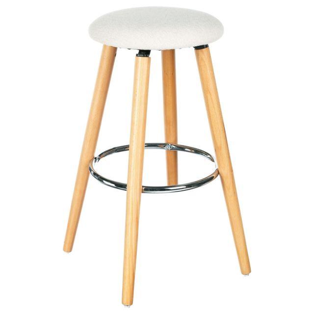 atmosphera tabouret de bar naor h 73 cm beige pas cher achat vente tabourets. Black Bedroom Furniture Sets. Home Design Ideas