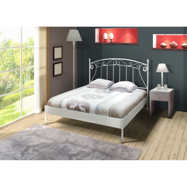 topdeco lit 2 personnes 140x190 cm romance blanc avec sommier pas cher achat vente. Black Bedroom Furniture Sets. Home Design Ideas