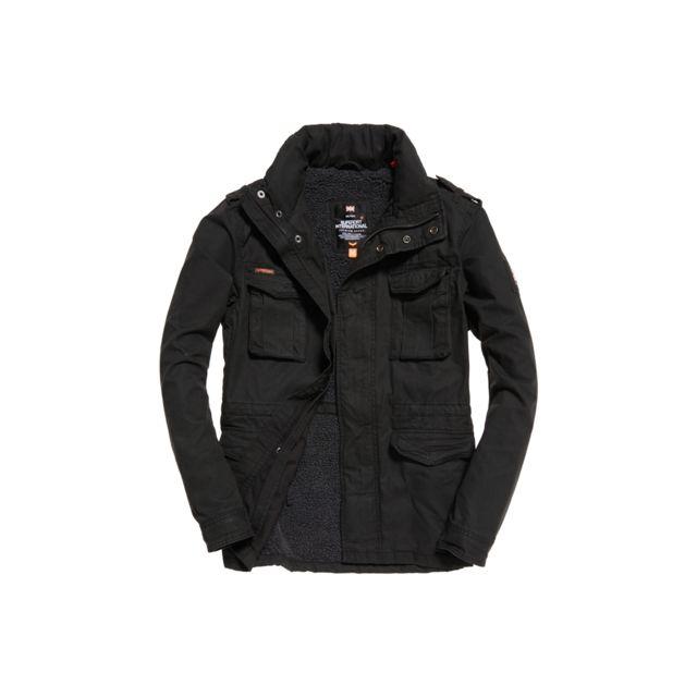 9783775cea5e7 SUPERDRY - Veste Rookie Heavy Weather Field Midnight Noir - pas cher Achat    Vente Blouson homme - RueDuCommerce
