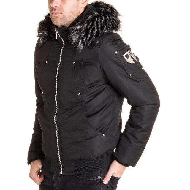 BLZ Jeans Blouson homme stylé à capuche amovible fausse fourrure noir