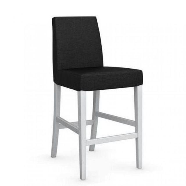 Chaise de tissu piétement bar laqué blanc hêtre gris anthracite assise Latina uOkiwPTXZ