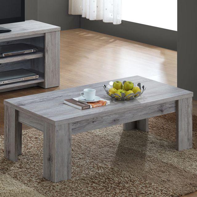 Sofamobili Table de salon 120 cm contemporaine couleur chêne Elijah