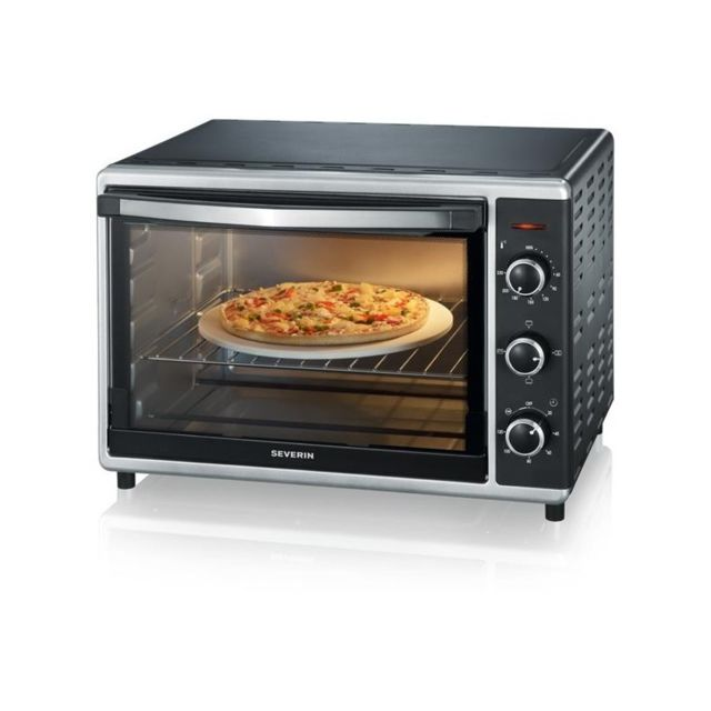 Severin Mini-Four Noir/INOX 1800 W - Capacité de 42L - Chaleur Tournante - Pierre à Pizza