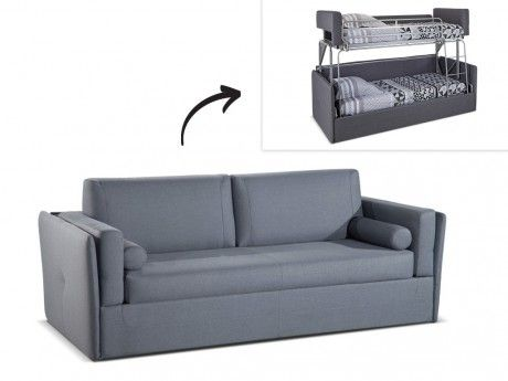 linea sofa canap 3 places convertible lit superpos chana en tissu gris achat vente. Black Bedroom Furniture Sets. Home Design Ideas