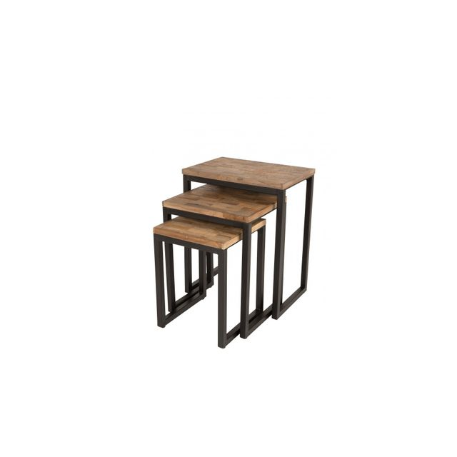 Boite A Design Table Basse Gigogne Suri Bois Et Métal Set De 3