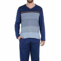 Eminence - Pyjama long en jersey de coton mercerisé : tee-shirt manches longues col V bleu marine à rayures bleu ciel et marron, pantalon bleu marine
