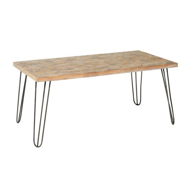 Jardin d\'Ulysse - Table basse vieux bois marqueterie avec ...